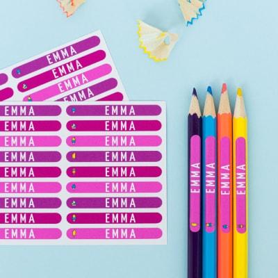 Namensaufkleber für Stifte